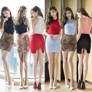 Women-Sexy-Mini-Micro-Skirt-Short-Sheer-See-Through-Leopard-Elastic-Waist-Tight