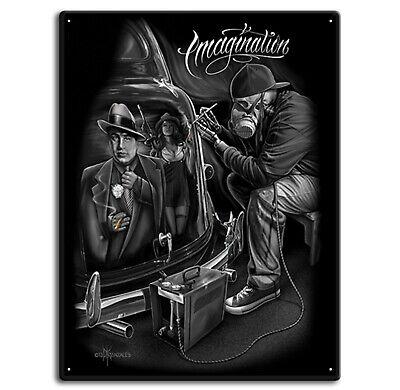 DGA David Gonzales Art Imagination Lowrider Cholo Gangster Tin Metal Sign 12x16