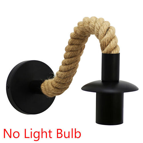 Hemp Bar Lights Vintage Indoor E27 Pipe Rope Wall Sconce Industrial Lamp Wall