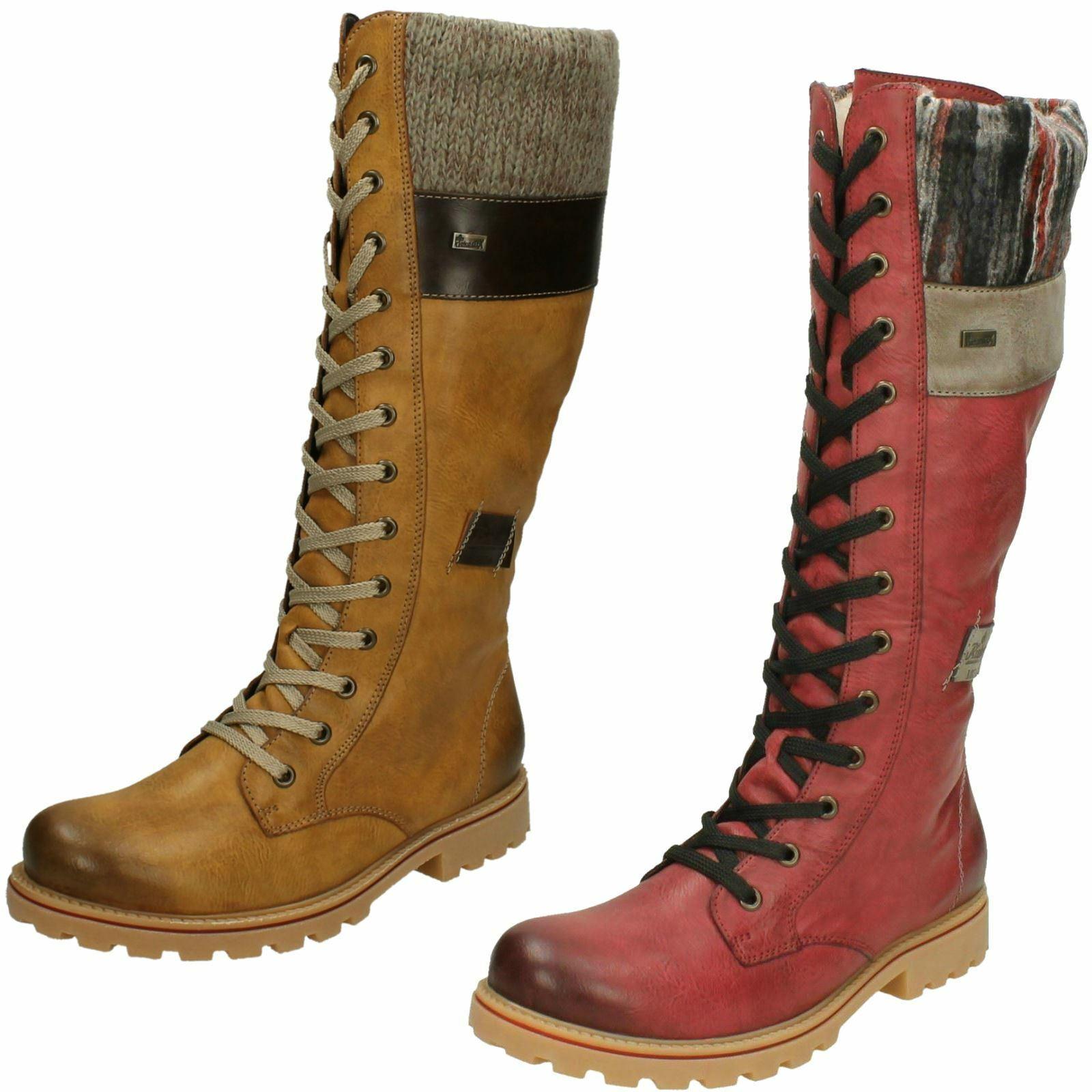 Damen rieker Braune Reißverschluss Lang Wadenhoch Smart Winter Stiefel Schuhe Eu