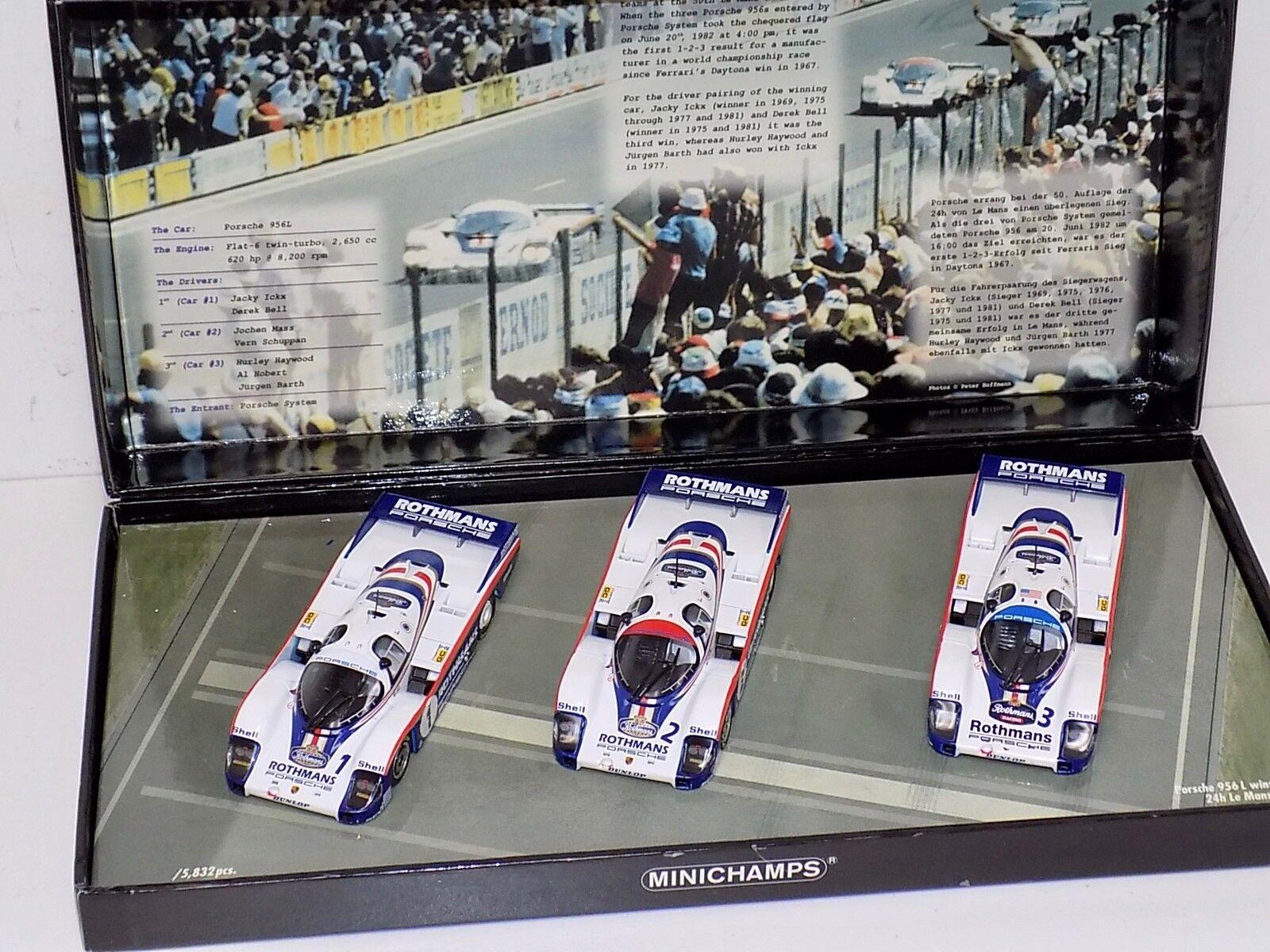 1 43 Minichamps Porsche 956L Wins 1982 24H of LeMans 1-2-3 3 car set Rothmans