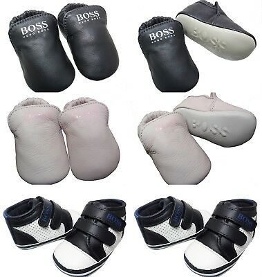 New Hugo Boss Leather Trainers Booties Baby First Shoes Strap Sale Size 0-3