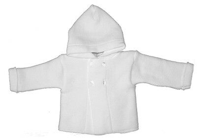 Capable Baby White Chunky Knitted Cardigan With Hood Strengthening Waist And Sinews