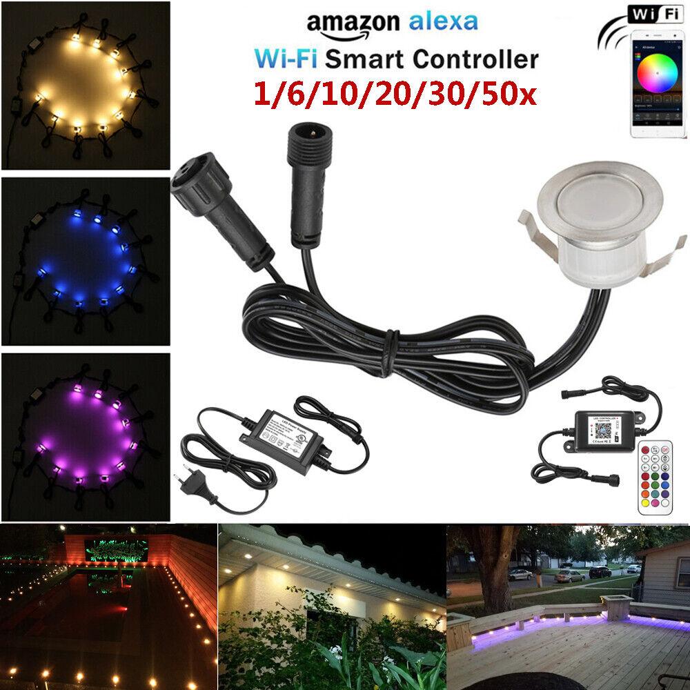 1-30x Wifi Kontroller RGB+Warmweiß LED Bodeneinbauleuchte Außenlampe Einbauspots