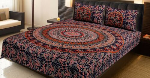 Queen Size  Bed Spread 100/%Cotton Bed Sheet With Two Pillow Cover