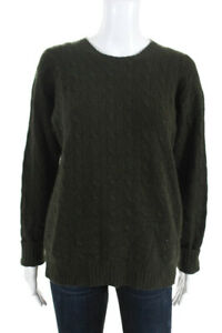 Ralph-Lauren-Womens-Long-Sleeve-Cable-Knit-Sweater-Olive-Green-Cashmere-Size-L