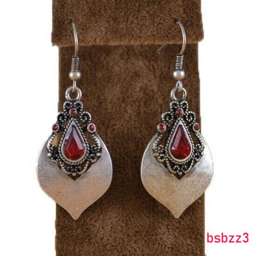 Woman Vintage Anniversary Drop Hook Gift Ruby Earrings Wedding  Gifts