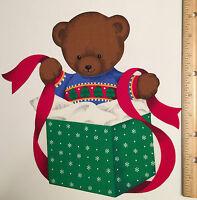 Christmas Teddy Bear Lg Fabric Applique Rare V.i.p. Happy Holiday Iron On