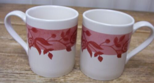 Corelle Coordinates Gypsum Red Stoneware Leaves Leaf Flowers 2 Coffee Mug Cup
