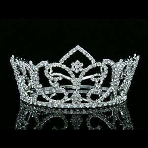 "3"" Tall Full Crown Bridal Pageant Queen Rhinestone Crystal Wedding Tiara 8196"
