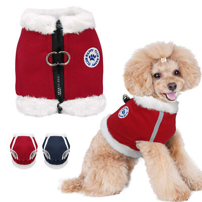 Dog Clothes Winter Soft Fleece Padded for Boys /& Girls Dogs Blue Red Washable