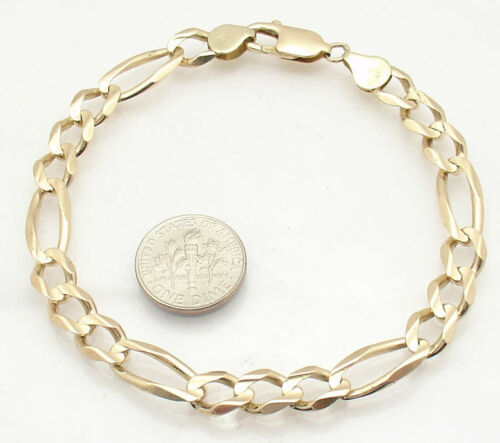 7mm Mens Solid Royal Figaro Link Chain Bracelet Real 10K Yellow Gold 9.7gr