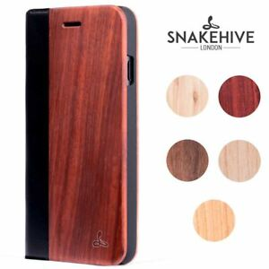 new products 56bdb 78ffb Details about Snakehive Apple iPhone 7 Genuine Natural Wood & Leather Phone  Folio Wallet Case