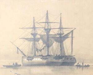 Fregate Trois Mats Carre Au Mouillage Dessin Xixe Anonyme Marine Bateau Marin Ebay