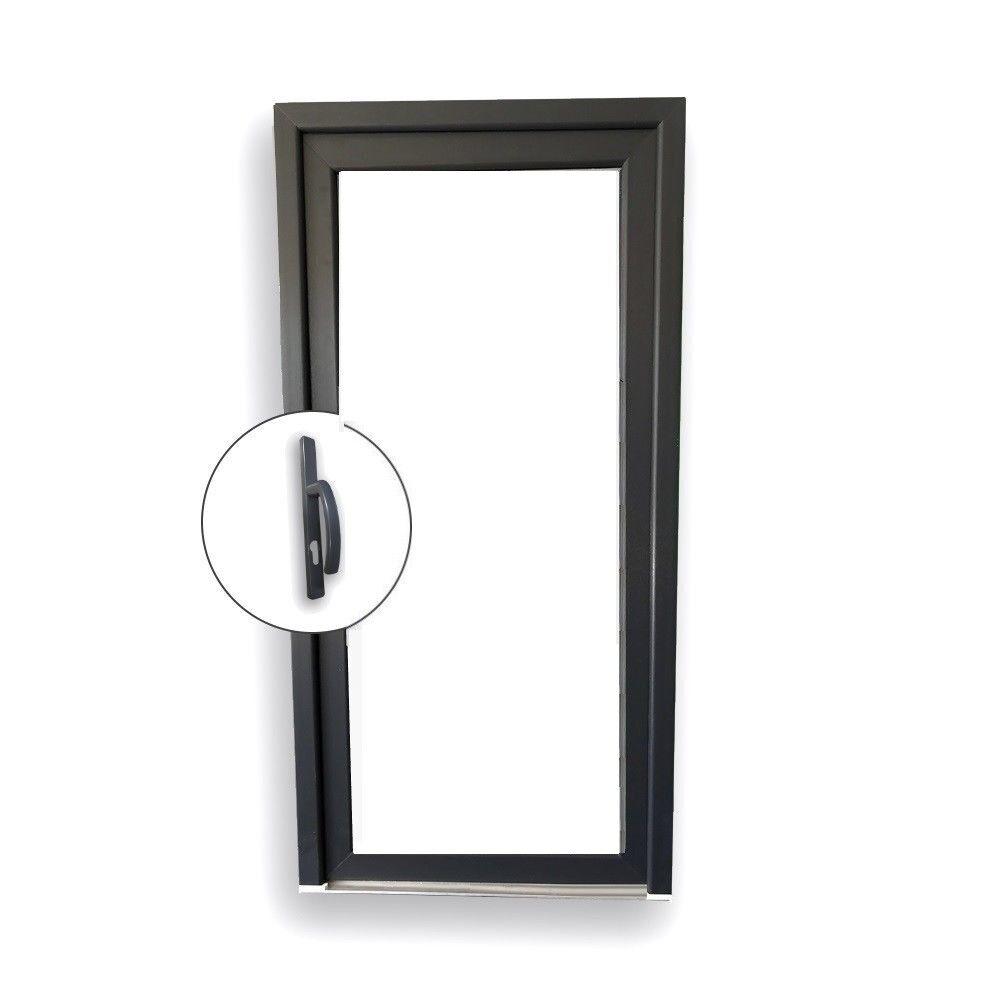 Nebeneingangstür Nebentür Tür Ganzglas innen weiß außen Anthrazit innenöffnend