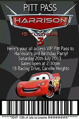 Lightning McQueen Birthday Invitation Custom Boys Party Invite
