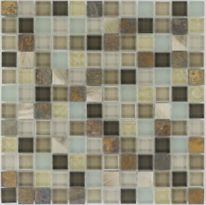 Image Is Loading Glass Mosaic Natural Stone Brown Beige Wall Bathroom