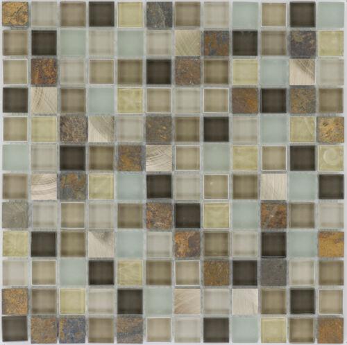 Glasmosaik Naturstein Metall Glas Braun Beige Wand Küche Bad 1 Matte ES-66346