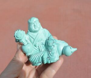 Vintage Chinese Turquoise Carved Carving Louhan Buddha Monk Figurine Figure