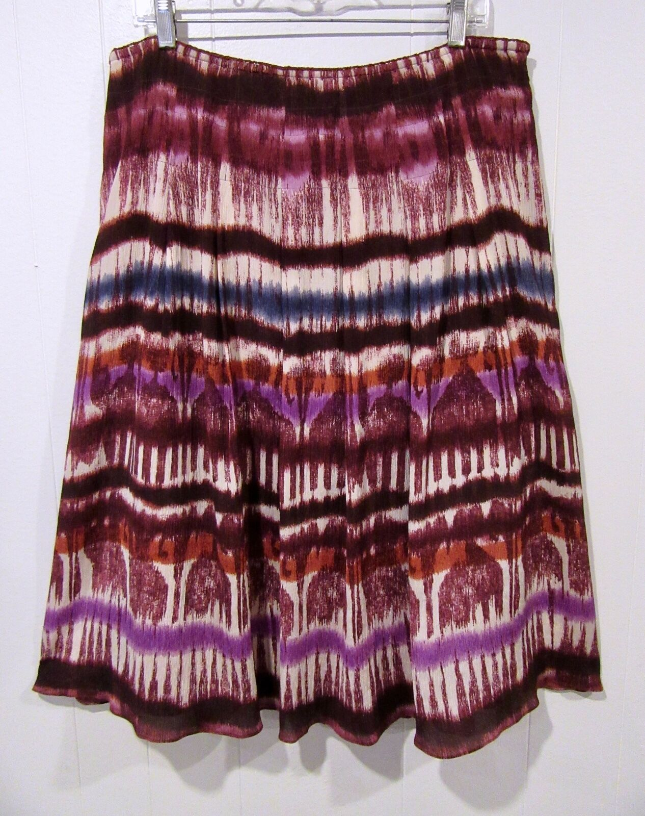 St. John Sport Burgundy Purple Rust Ikat Silk Crepe Skirt 14
