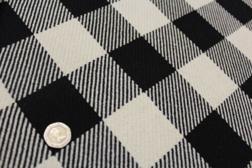 "Premium Wool Blend Fabric,White Black Check Large Gingham Check,Approx 60/"" Wide"