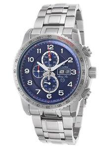 f0b58e1ec Bulova Marine Star Sport Chronograph Blue Dial Stainless Steel Mens Watch  96C121