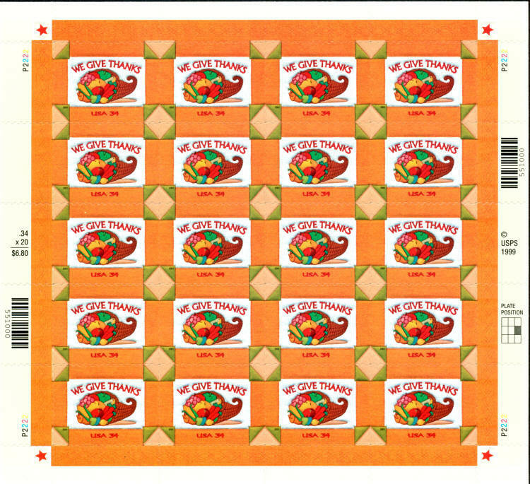 2001 34c Thanksgiving, We Give Thanks, Sheet of 20 Scot