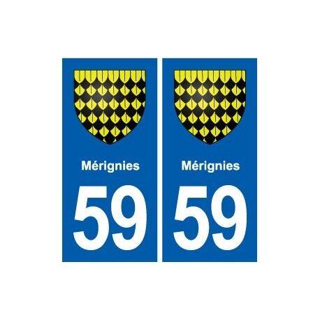 59 Mérignies blason autocollant plaque stickers ville arrondis