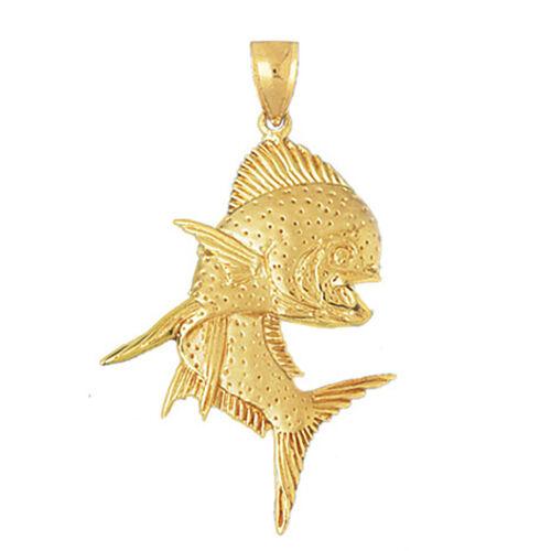 New 14k Yellow Gold Mahi Mahi Fish Pendant