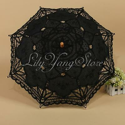 1Pcs Black Handmade Cotton Parasol Lace Umbrella Party Wedding Bridal Decoration