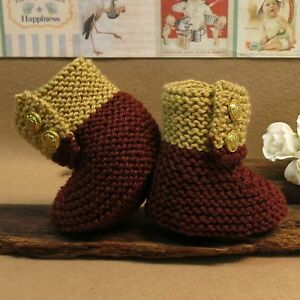 Knitted-Brown-Tan-Baby-Shoes-Newborn-Boys-or-Girls-Wool-Hi-Tops