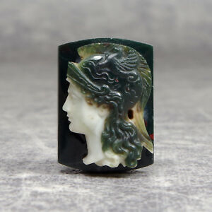 Camee-Dieu-Mars-Ares-Cameo-God-Mars-Ares-Moss-Agate-Mousse-Portrait-19th
