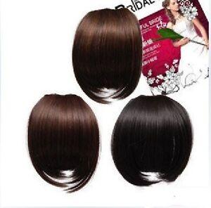 noir-brun-fonce-Clip-dans-le-Bang-frange-Extension-de-cheveux