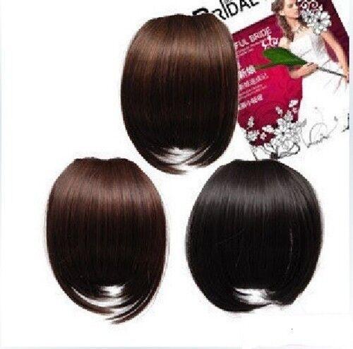 noir marron foncé Clip dans le Bang frange Extension de cheveux