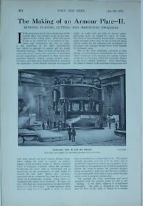 1914 WW1 ARTICLE & PICS MAKING ARMOUR PLATE BENDING MACHINERY PLANING MACHINE