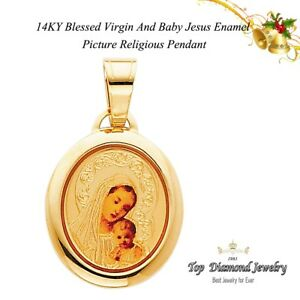 14k Yellow Solid Gold and Enamel Blessed Virgin and Baby Jesus Religious Pendant