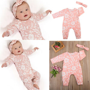 313e2eada30 Image is loading Newborn-Baby-Girls-Floral-Romper-Bodysuit-Jumpsuit-Headband -
