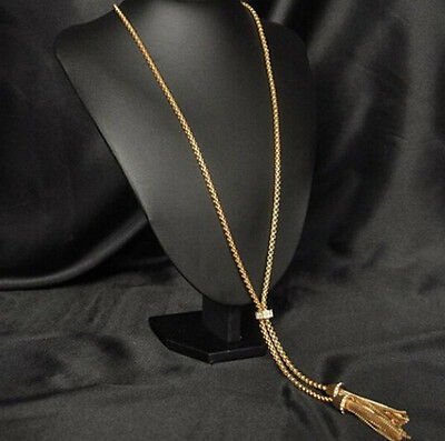 Hot ZSO Rhinestone Long Chain Sweater Necklace Gold Plated Alloy Tassel Pendant