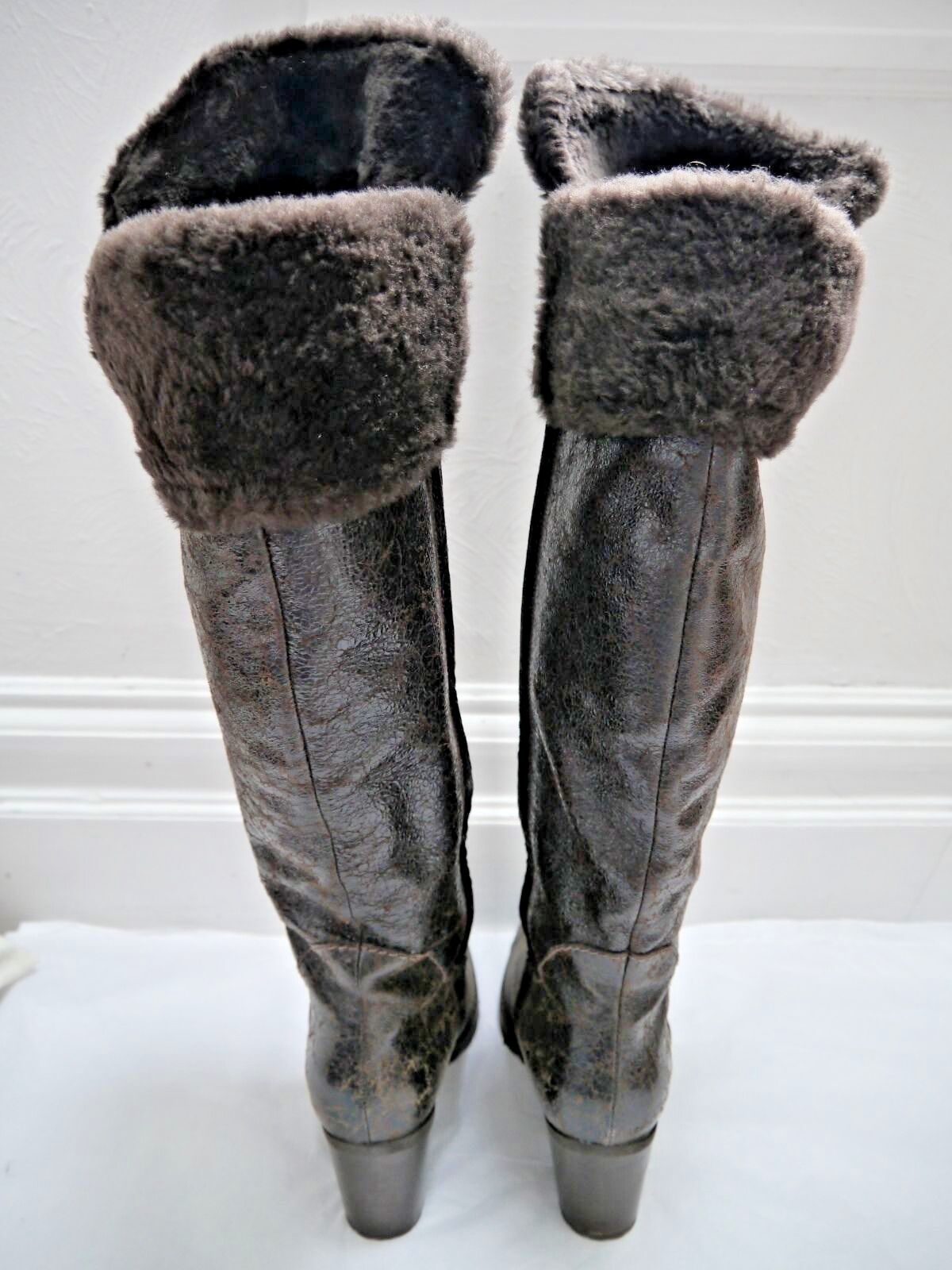 HENRY BEGUELIN brown shearling fur leather high boots Italian 39.5 39.5 39.5 WORN ONCE 391b41