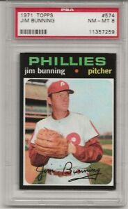 SET-BREAK-1971-TOPPS-574-JIM-BUNNING-PSA-8-NM-MT-HOF-PHILADELPHIA-PHILLIES