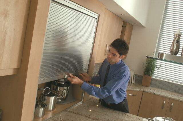 1450mm High Premium Tambour Door Kit Stainless Effect Roller Shutter Kitchens