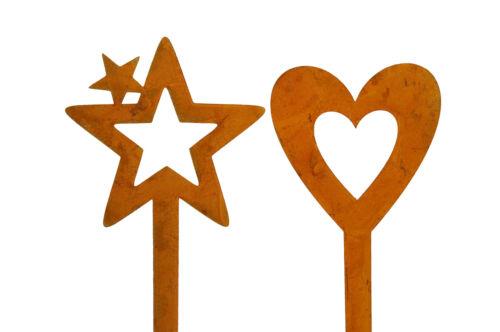Adornos corazón y estrella para meter metal óxido para jardín balcón