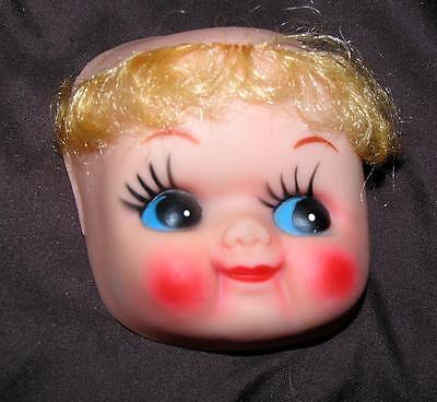"""3/"""" SML SMILEY PLASTIC MASK FACE 2 VTG 1960/'S CLOTH DOLL MAKING SUPPLIES"""