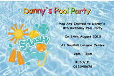 10 Personalised Swimming Pool Party Invitations Thank You Cards Ebay