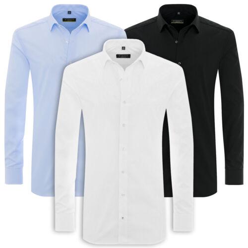 Eterna Camicia manica lunga super slim fit NUOVO Uni STRETCH BIANCA BLU NERO 8424.z181