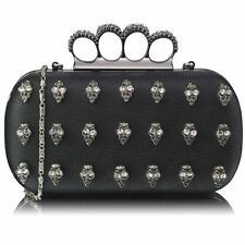 KNUCKLE RING DIAMANTE STUDS/SKULLS GOTHIC EVENING/CLUTCH BAG WEDDING/PARTY BNWT