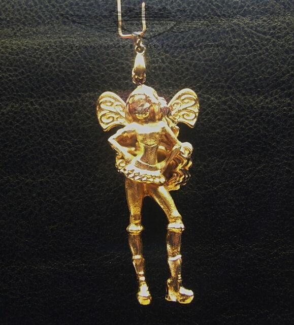 Anhänger, Kleine Elfe, Fee in 24 Karat veredelt, Unikat, gold, neu, edel