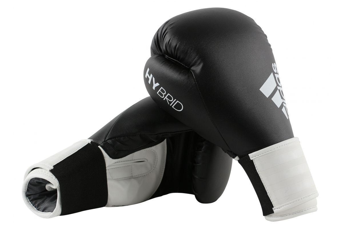 Adidas Boxhandschuhe Hybrid 100 Schwarz Weiß Sparring 8 10 12 14 16oz Thai Boxen