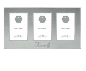 Family-Photo-Frame-Silver-Glitter-Triple-Picture-Home-Decor