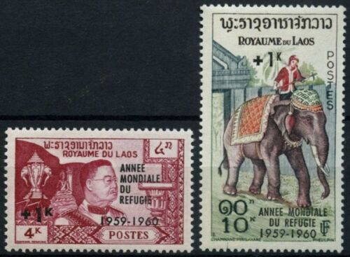 Laos 1960 SG#103-4 World Refugee Year MNH Surch Set #D58549